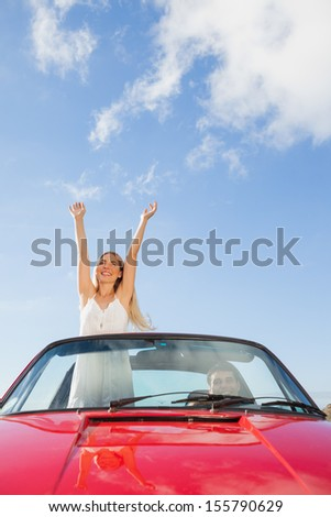 Cheerful woman standing in cabriolet while her boyfriend driving on a sunny day - stock photo