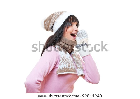 cheerful woman whispering gossip. isolated on white background - stock photo