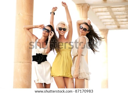 Cheerful women on vacation day - stock photo