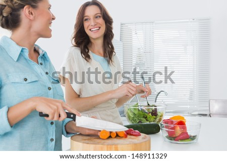 Cheerful women preparing salad together  in the kitchen  - stock photo