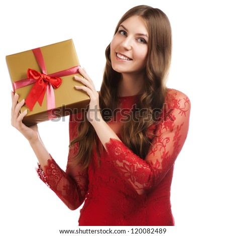 Cheerful women with a present - stock photo