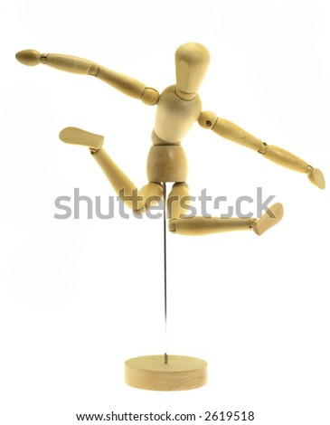 Cheerful wood mannequin on a white background