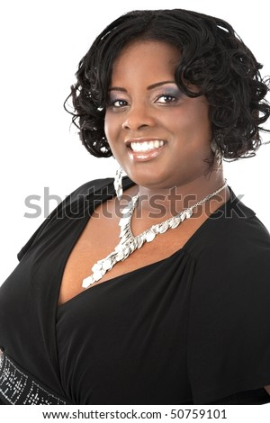 Cheerful Young African American Woman Headshot Portrait on White Background Isolated