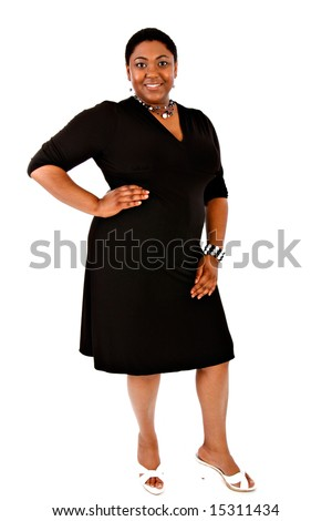 Cheerful Young African American Woman Portrait on White Background
