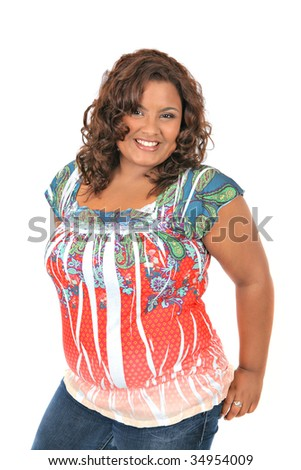 Cheerful Young African American Woman Portrait on White Background - stock photo