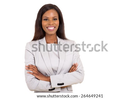 cheerful young african businesswoman looking at the camera - stock photo