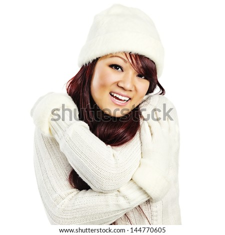 Cheerful Young Asian Woman in Winter Fashion