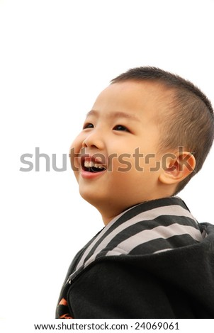 Cheerful Young Boy on white background,more shots available in the same series...