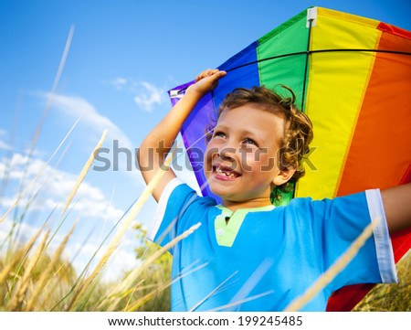 Cheerful Young Boy Playing Kite Outdoors - stock photo