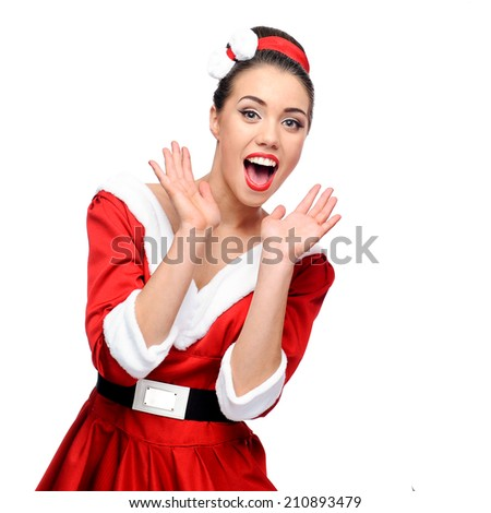 cheerful young caucasian retro woman in red vintage clothing screaming isolated on white - stock photo