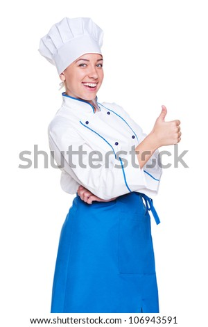 cheerful young cook showing thumbs up. isolated on white background - stock photo