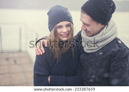 cheerful young couple in love  - stock photo