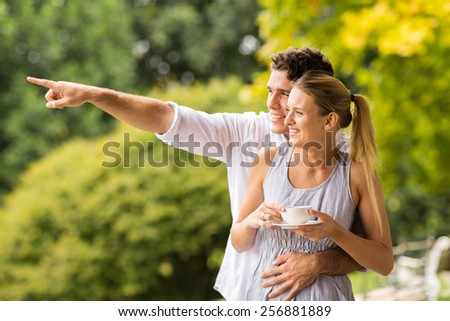 cheerful young couple pointing at forest - stock photo