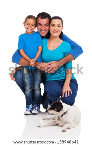 cheerful young family with pet dog isolated on white - stock photo