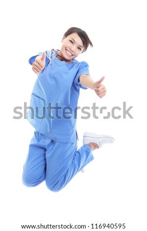 cheerful young female doctor or nurse jumping high with thumb up hand sign isolated on white background, model is a asian woman - stock photo