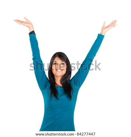 cheerful young indian woman on white - stock photo