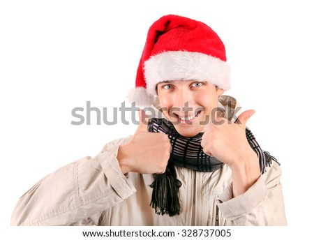 Cheerful Young Man in Santa's Hat with OK Gesture Isolated On The White Background - stock photo