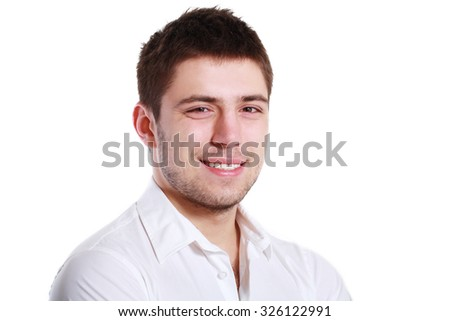 Cheerful young man, isolated over white background - stock photo