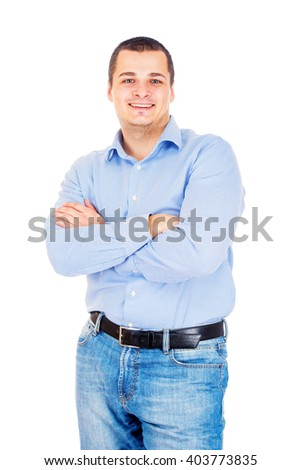 Cheerful young man on white background