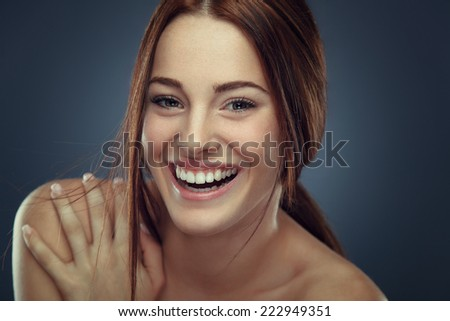 Cheerful young woman beauty portrait  - stock photo
