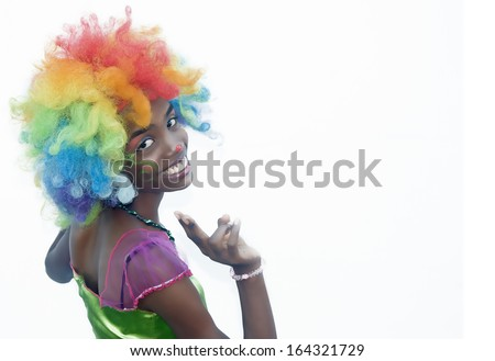 Cheerful Young Woman Clown with Available Writing Space