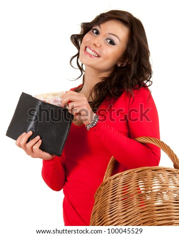 cheerful young woman looking to the wallet with euro, white background