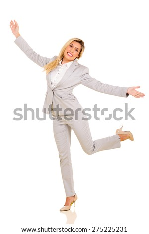 cheerful young woman posing on white background - stock photo