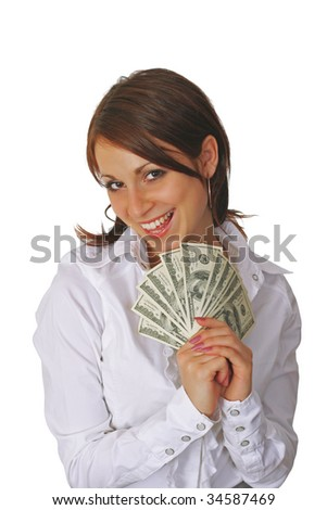 Cheerful young  woman  showing cash and smiling - stock photo