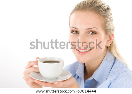 Cheerful young woman with coffee on white background
