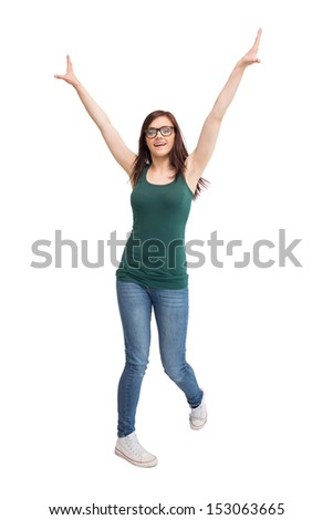 Cheerful young woman with glasses gesturing on white background