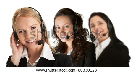 Cheerfull call center operators