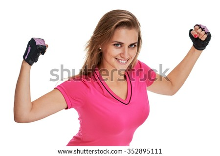 Cheerfully smiling woman doing exercise , isolated on white background