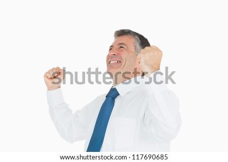 Cheering businessman celebrating success - stock photo