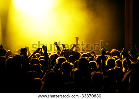 Cheering crowd at a rock-concert