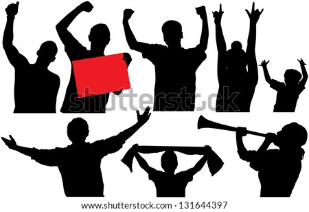 Cheering Crowd Sports Fans Silhouettes Raster Stock ...