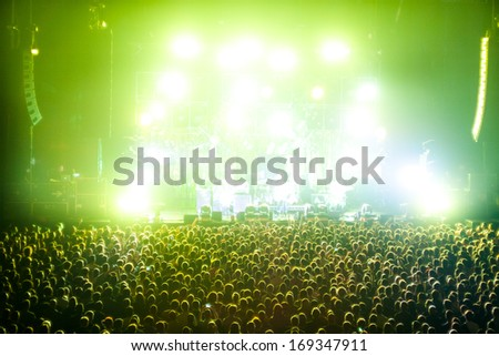 Cheering Crowds in a rock concert - stock photo