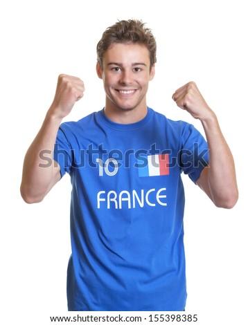 Cheering french football fan  - stock photo