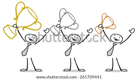 Cheering men at business presentation ceremony with trophy - stock photo
