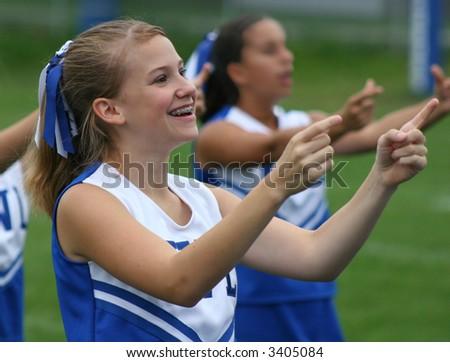 Cheerleader cheering at Football Game 4 - stock photo