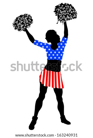 Cheerleader girl in dress from American flag on white background. Property release is attached to the file - stock photo