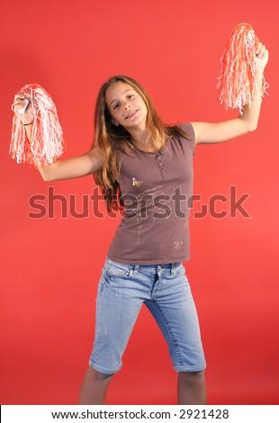 cheerleader vertical straight - stock photo