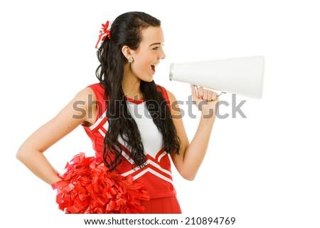 Cheerleader: Woman Yells To Side Through Megaphone - stock photo