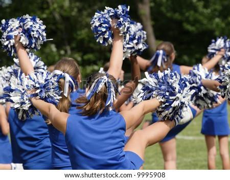 Cheerleaders Cheering at Game 1 - stock photo