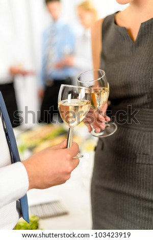 Cheers toast of company partners at meeting celebrate cooperation - stock photo