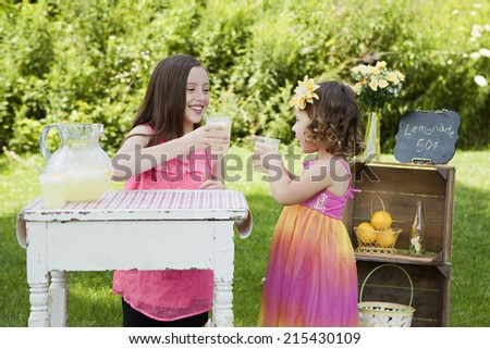 Cheers!  Two adorable sisters running a lemonade stand.   - stock photo