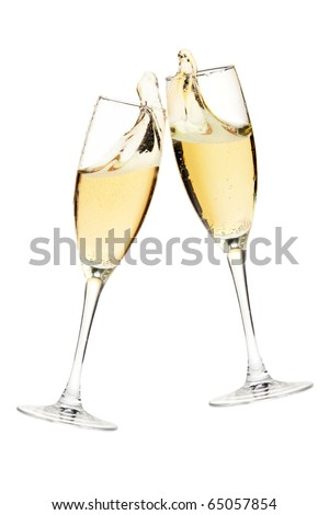 Cheers! Two champagne glasses. Isolated on white - stock photo