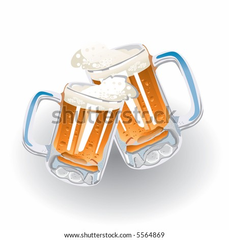 Cheers! (Two Glasses With Frothed Up Beer).  Also available vector version in this gallery. - stock photo