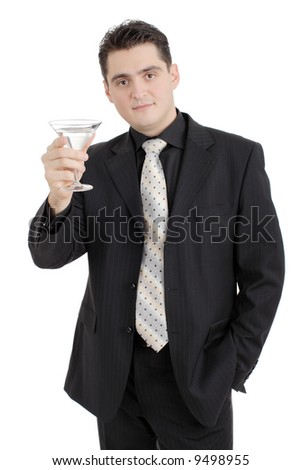Cheers - Young businessman with a drink isolated on white background - stock photo
