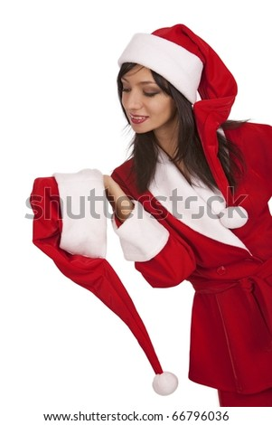 Cheery Santa girl appeal to xmas hat over white background - stock photo