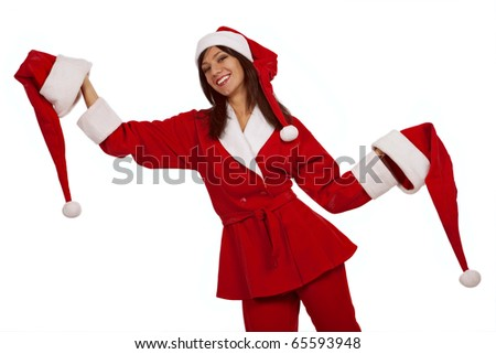 Cheery  Santa girl with two xmas hats over white background - stock photo